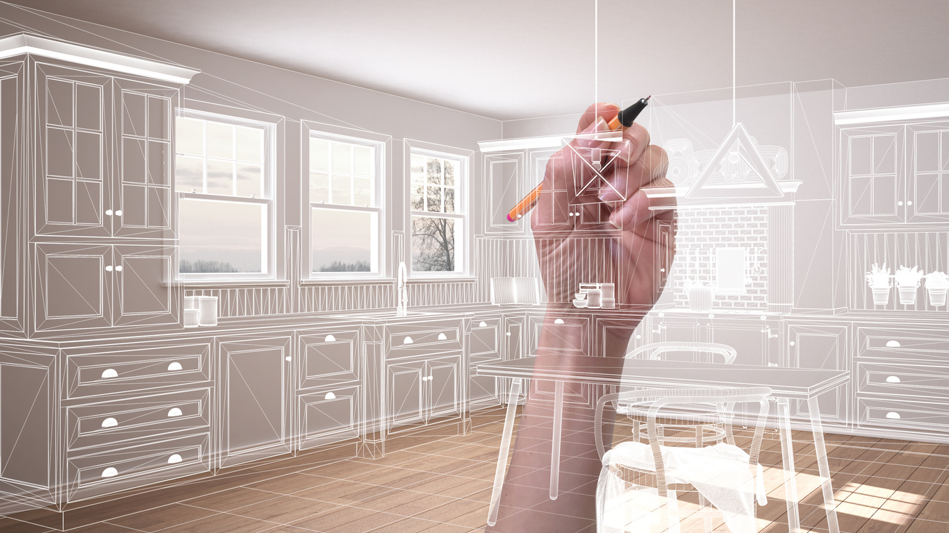 Empty white interior with parquet floor and three panoramic windows, hand drawing custom architecture design, white ink sketch, blueprint showing classic kitchen