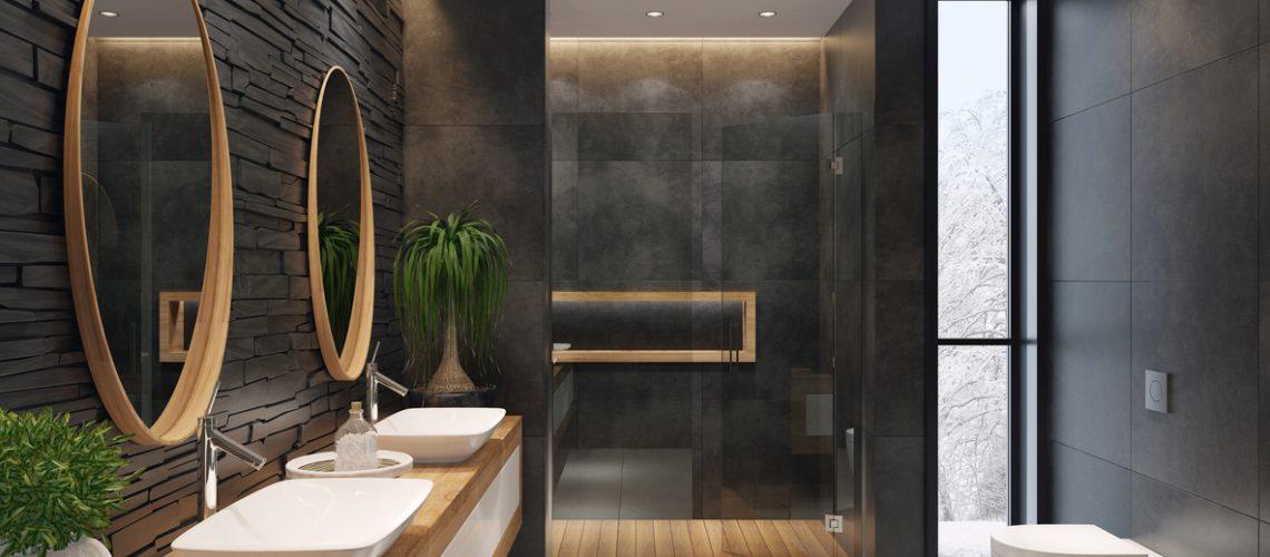Luxurious minimalist bathroom with slate black stone wall