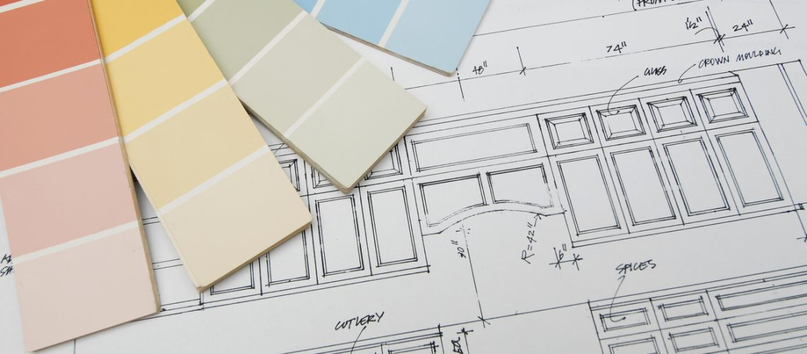 Vector graphic of interior design on a blueprint